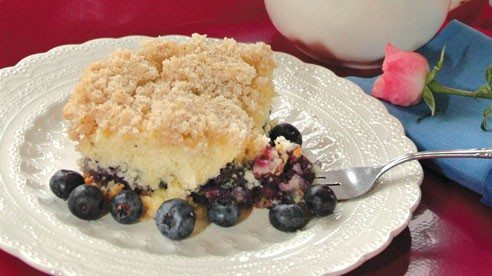 This delicious cake uses four cups of blueberries.