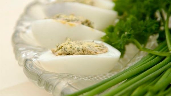 Herb-filled eggs