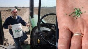 Carrot farmer Tom O'Neill climbs into his tractor during spring planting. In a few months, these tiny seeds will be ready to harvest.