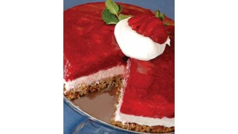 This is a festive dessert using whipped topping and strawberry gelatin.