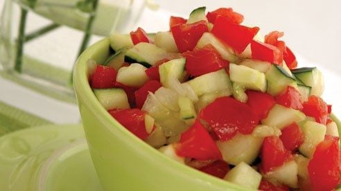 This recipe is great during the summer months when tomatoes and cucumbers are in season!
