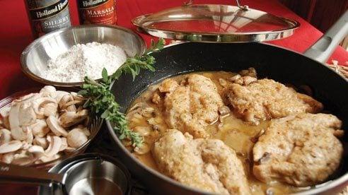 Chicken marsalais a Franco-Italiandish made from chicken cutlets, mushrooms, andMarsala wine.