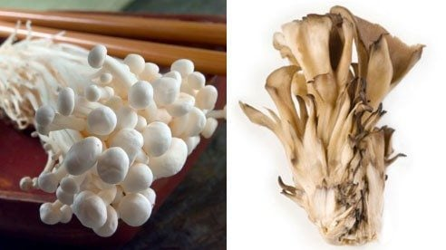Enoki Mushrooms (left) and Maitake Mushrooms