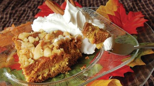 The delicious fragrance of pumpkin wafting from the oven is often too tempting to ignore. Try something different with this pumpkin pie cake recipe.