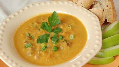 Enjoy this savory sausage pumpkin soup. Pumpkin has no cholesterol, it's low in fat and sodium and it's rich in nutrients such as beta carotene and vitamin A.