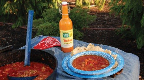 After a day on the trails what could be better than a hearty bowl of buffalo chicken chili made on the campfire. The key to outdoor cooking is simplicity and creativity.