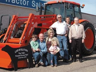 From left, Emma, Bob, Autumn and Kaitlyn Morrision, Dennis and Chris Lashley-Lashley Tractor Sales & Jeff Elson, Kubota.