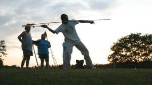 Visitors to the Pawpaw Festival enjoy a variety of activities including the atlatl competition. The ancient spear, once used for hunting by Native Americans, requires more skill than muscle to reach its target.