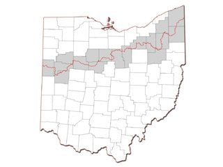 The line above indicates the divide between the Lake Erie and Ohio River drainage basins.