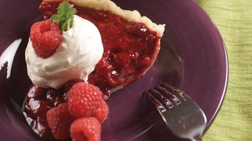 This pie is refrigerated until it turns solid. It's great topped with whipped cream or cool whip.