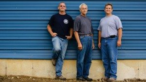 From left, Bob Horst, his father Myron and brother Nevin on the family's northeast Ohio egg farm.