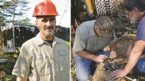 Jeff Whitecraft, left, says responsible logging ensures that trees remain a renewable resource in Ohio. A tree stump, right, makes a useful workbench while working in the forests of southeast Ohio.