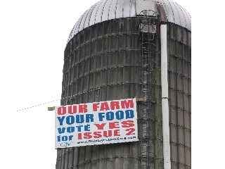 A sign atop a Pickaway County silo encourages voters to approve Issue 2