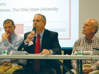 Mike Bumgarner, vice president of OFBF's Center for Food and Animal Issues, speaks during an animal welfare symposium.