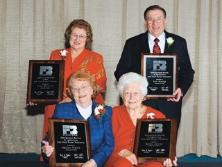 OFBF's Distinguished Service Award winners, from left, are Micki Zartman, Esther Welch, Sarah James and Jim Buchy.