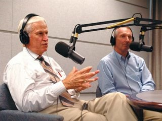 Former U.S. Rep Charlie Stenholm (I) talks with OFBF President Brent Porteus on OFBF's radio show Town Hall Ohio.