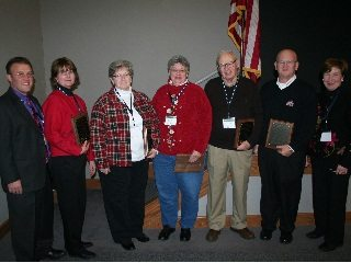 From left, High, and Distinguished Service Award Winners Miller, Johnson, Cessna, Highfield, Irvin and Shultz.
