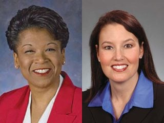 Gubernatorial running mates Yvette McGee Brown (D) and Mary Taylor (R)