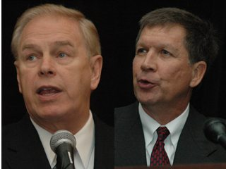 Strickland (left) and Kasich addressed farmers at Ag Day at the Capitol on Tuesday