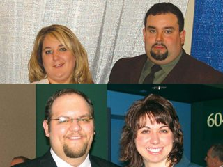 Top: Julie and Brandon Weber; Bottom: Andy Vance and Linsday Hill