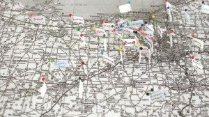 A map of Ohio alpaca farms hangs in Karen Burke's fiber studio.