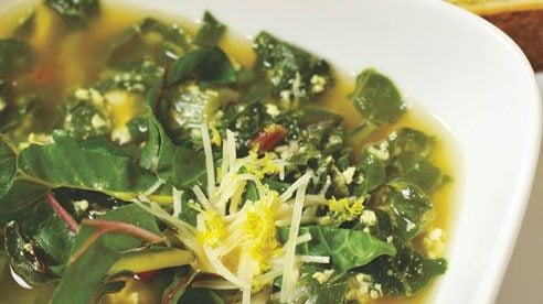 Not all greens have to go into salads. Chard is a versatile spring green with leaves that have a spinach-like flavor. Sliced thin, they can be added to salad mixes or used in this delicious soup to take the chill out of a cold spring day.