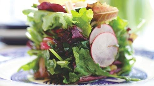 This salad has a nice balance of flavor — from the peppery punch of arugula and radishes to the mild fresh flavors of the greens and the sweet citrus flavor of the marmalade.