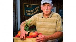 Bill Gammie, owner of Quarry Hill Orchard returns from the field with the first pick of the peach season.