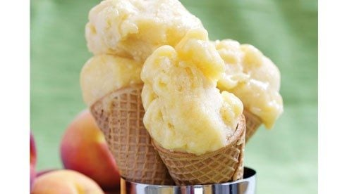 This simple recipe delivers creamy, sweet sorbet without using an ice cream maker. It's a wonderful recipe for cling peach varieties. For an extra special touch, try this recipe using white peaches.