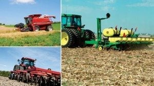 Clockwise, from top left: combine, planter, chisels/discs