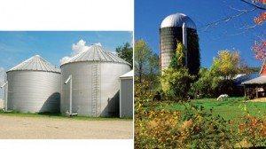 Grain bins (left), silo