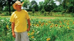Roger Genter uses a small parcel of land on the outskirts of town to grow herbs and flowers.