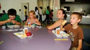 Children eat their free lunch at Reynoldsburg High School.