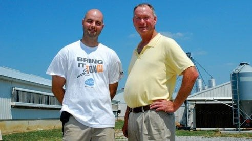 Kyle (l) and Randy Brown say they enjoy sharing information with consumers about producing pork.