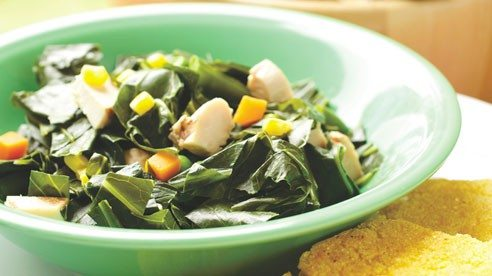 This recipe can be prepared as a side dish, or add a little meat and it becomes a main course. Take care not to overcook the greens so that they come off the stove with some texture and color.