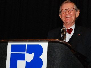 OSU President E Gordon Gee kicked off Ohio Farm Bureau's annual meeting Wednesday