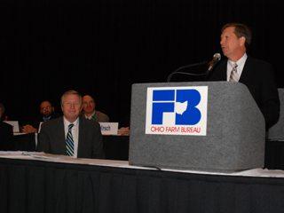 Ohio Governor-elect John Kasich addresses the Ohio Farm Bureau Federation annual meeting.