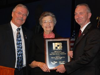 Ruth McLaughlin, the first Farm Bureau volunteer-member to receive the Agricultural Communicator Award.