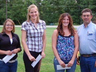 2011 Pickaway County Farm Bureau Scholarship recipients with Mark Ruff, County President