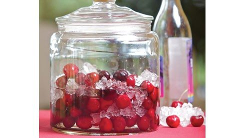 What a fun way to ring in the holidays with cherries from the summer. When the liqueur is gone, enjoy a whiskey infused cherry every now and then.