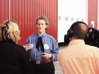 Temple Grandin is interviewed during a presentation to farmers in Wood County.