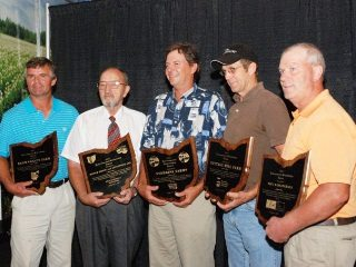 From left: Lou Brown, Gene Royer, Tim Stebbins, Rick Moore, Paul Dahlinghaus accept OLC Environmental Stewardship Award