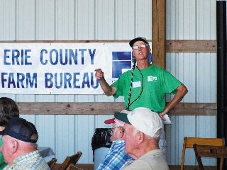 Ohio Farm Bureau Vice President Sparky Weilnau greets visitors to his farm for the Down on the Farm event.