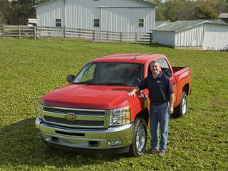 OFBF President Steve Hirsch on his farm with a 2012 Chevrolet Silverado 1500 Crew Cab pickup.