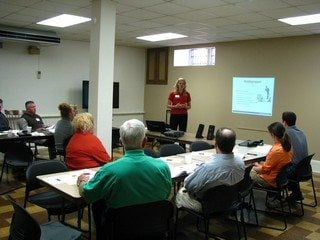 Attendees learn about public speaking from Emily Krueger, 2011 American Farm Bureau Collegiate Discussion Meet winner.