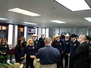 Lucas FFA members visiting the Ohio Farm Bureau office in Columbus