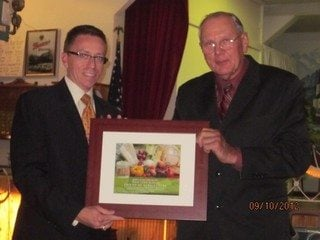 Representative Mike Dovilla is recognized as an OFBF Friend of Agriculture at the Cuyahoga Farm Bureau annual dinner.