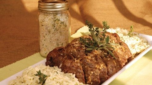 This recipe uses 3-4 pounds center cut beef tenderloin and fresh herbs.