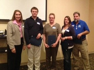 Our Scholarship Recipients for 2012 with President Brenda Hastings (left) and Secretary Ed Rumburg (right)