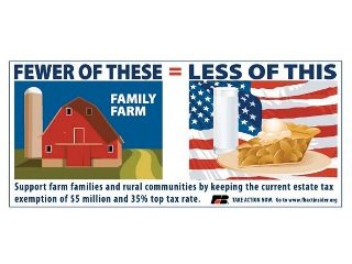 AFBF shared this image on Facebook as part of the effort to raise awareness about the estate tax.